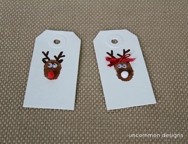 DIY Mr. and Mrs. Reindeer Thumbprint Christmas Tags thumbprint art