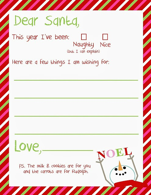 Letter to santa free christmas printable a great holiday for Dear santa template kindergarten letter
