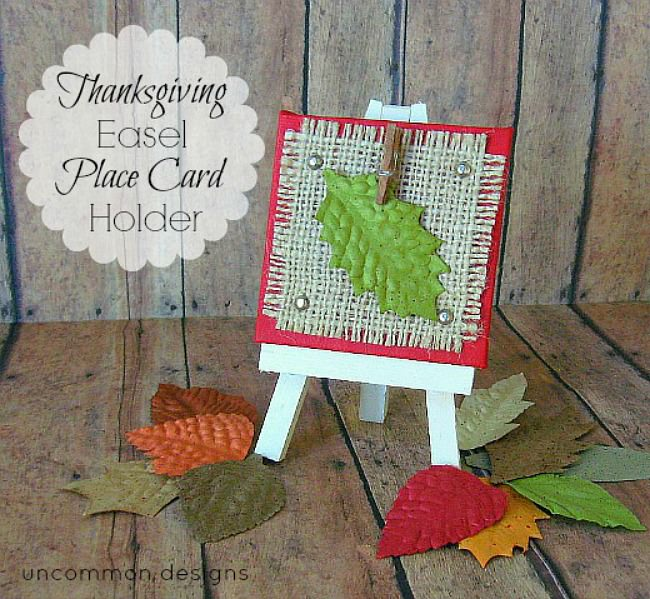 Create an adorable Thanksgiving Easel Place Card Holder for your dinner table!