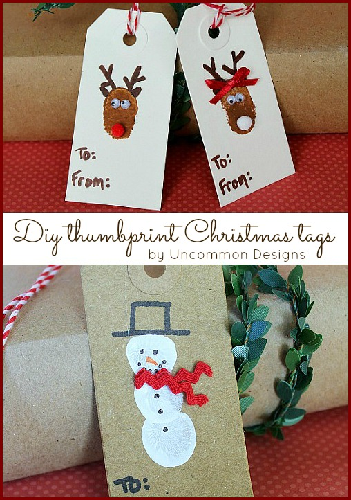 Diy Reindeer and Snowman Thumbprint Christmas Tags tutorial. #christmas #kidscrafts #giftwrapping via www.uncommondesignsonline.com