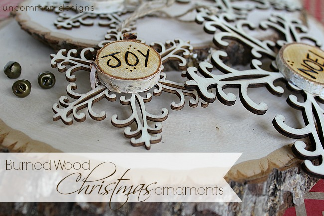 Burned wood christmas ornaments snowflakes and words