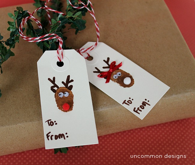 How to make thumbprint Christmas tags