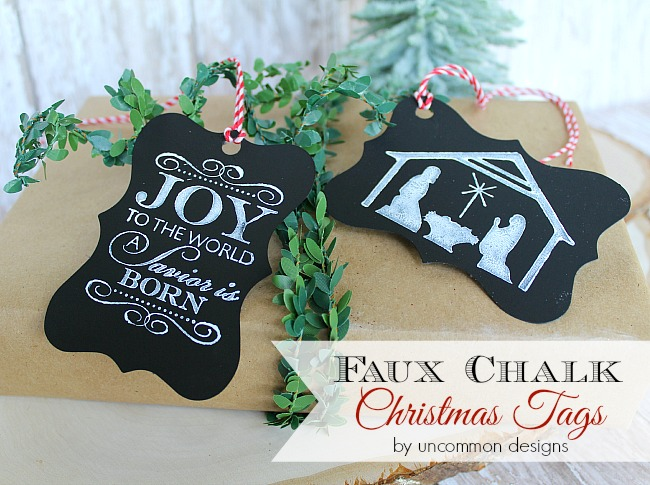 DIY Faux Chalk Christmas Tags. A beautiful gift wrapping idea. #giftwrapping #chalk #christmas #gifts