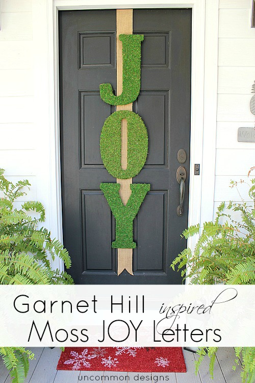 Garnet Hill Inspired Moss JOY Letters. Full tutorial via www.uncommondesignsonline.com #christmas #holidaydecor #mossdecor #doordecor