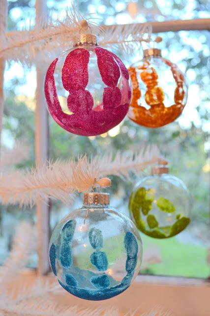 glittered handprint Christmas Ornaments