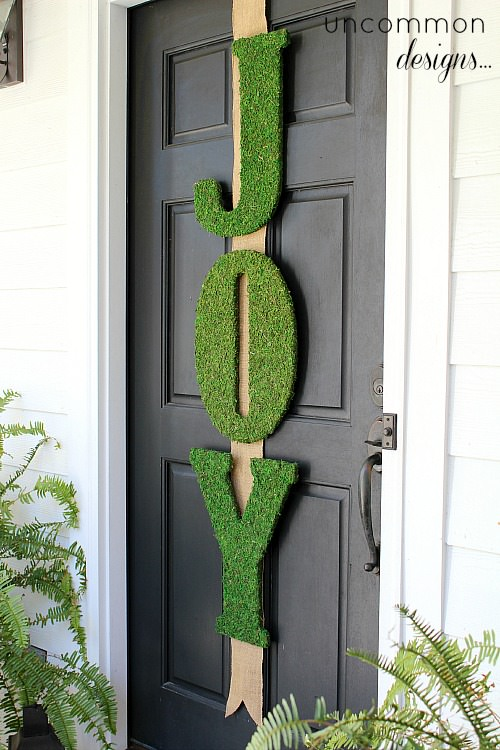 Garnet hill inspired moss joy letters holiday door decor for Simple front door designs