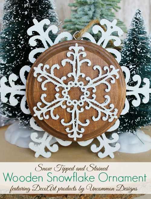 Snow tipped wooden snowflake Christmas ornament using snowtex snow-tex via Uncommon Designs