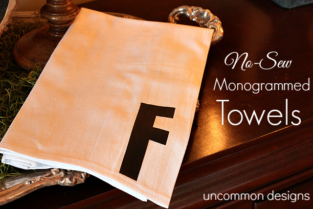 No Sew Monogrammed Towels... the Perfect Holiday Gift!  #NoSew  #HolidayGifts via www.uncommondesignsonline.com