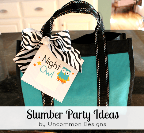Slumber Party Ideas for kids via Uncommon Designs.