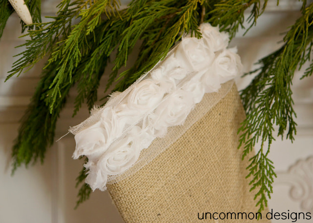 Make your own Burlap Stockings!  We have a version for him and her.  You can sew your own or just embellish a store bought stocking.  #Christmas  #Stockings  via www.uncommondesignsonline.com