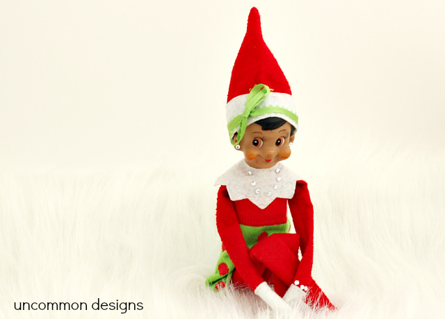 Make an Elf on the Shelf Dress from a Sock! No sewing required... one cut and you are done!  via www.uncommondesignsonline.com  #ElfontheShelf  #Christmas