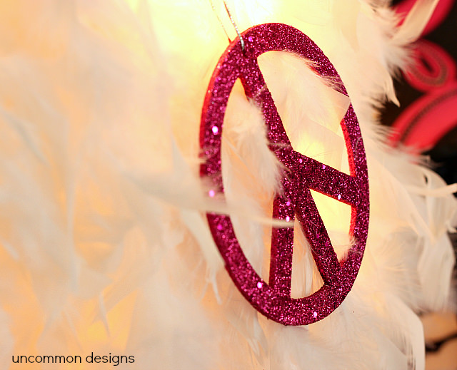 Feather Tree and Peace Sign Ornament