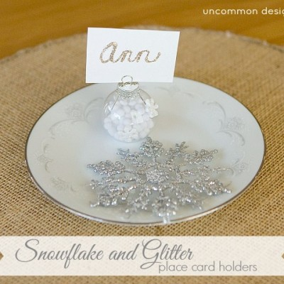 Snowflake and Glitter Place Card Holders