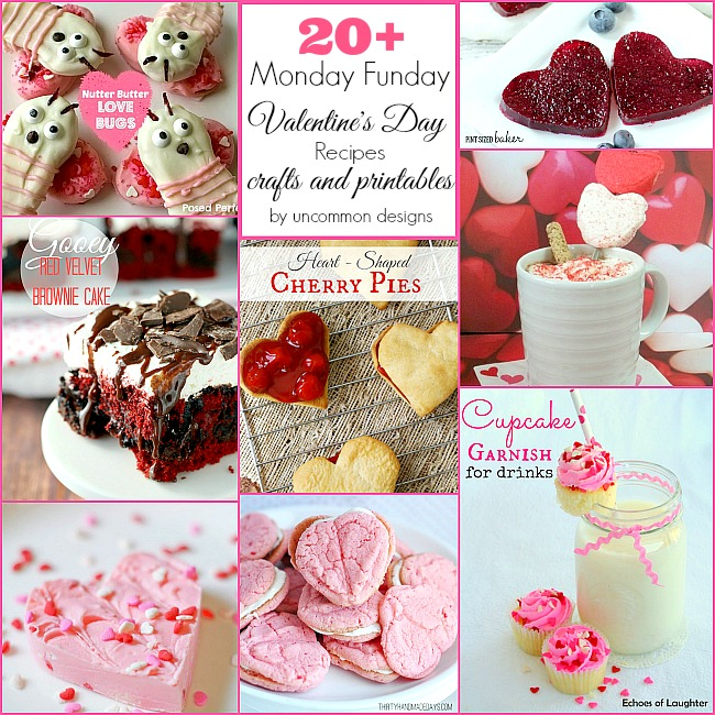 20+ Valentine's Day Craft, printables, and recipes from Monday Funday. #linkpartyfeatures #valentinesday