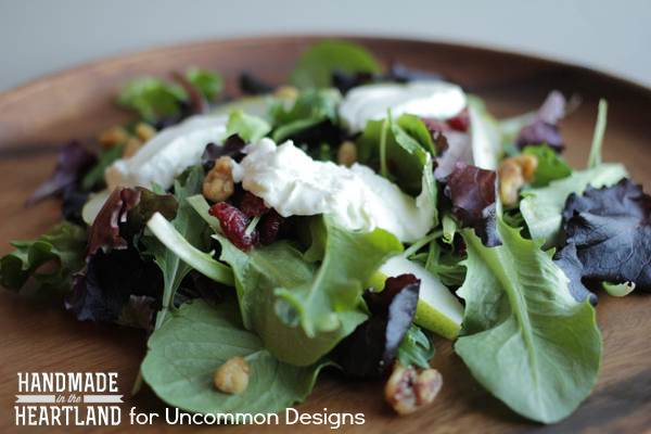 Mixed Greens, Pear and Warm Goat Cheese Salad www.uncommondesignsonline.com  #salads