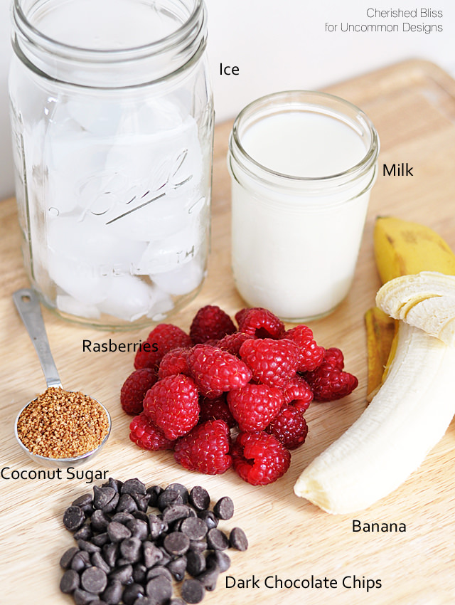Raspberry Banana and Dark Chocolate Smoothie  via www.uncommondesignsonline.com  #smoothies  #smoothierecipes