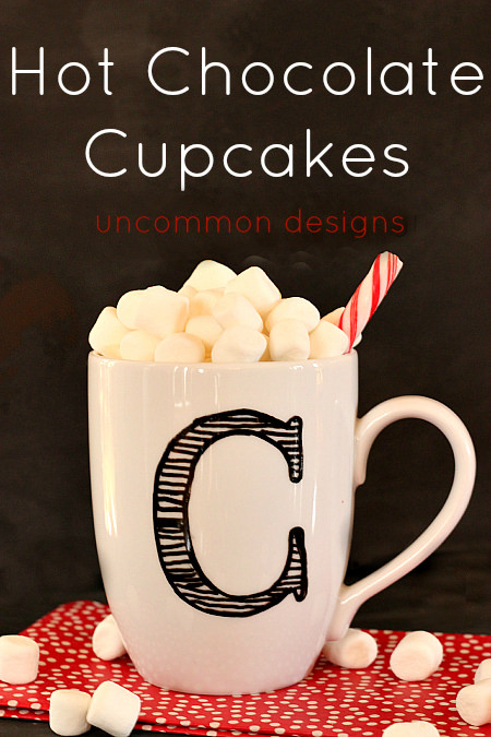 Hot Chocolate Cupcakes in a Mug by www.uncommondesignsonline.com #Cupcakes  #HotChocolate