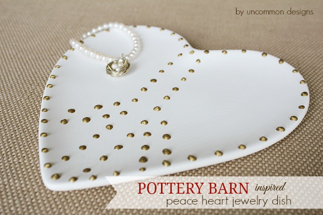 Pottery Barn Inspired Heart Peace Jewelry Dish #potterybarn #valentinesday #decoart