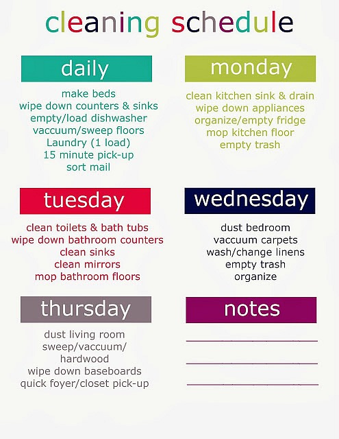 printable weekly cleaning schedule get organized