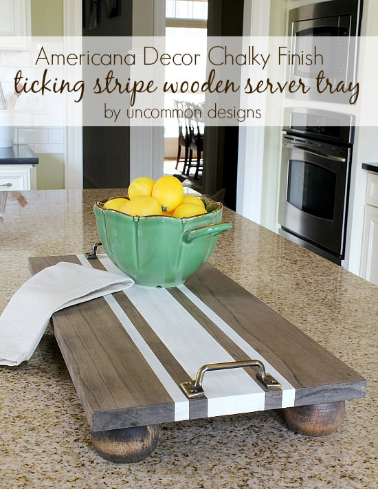 DIY Ticking Stripe Wooden Server Tray featuring Americana Decor Chalky Finish. #chalkyfinish #decoart #thehomedepot #americanandecor