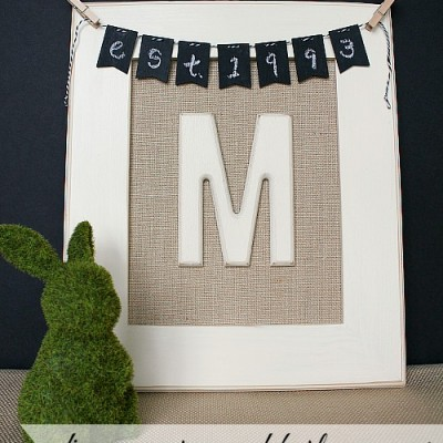 DIY Monogrammed Burlap Canvas