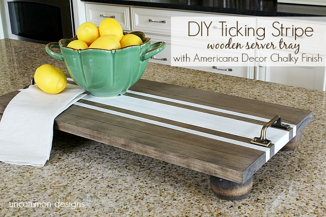 Diy Ticking Stripe Wooden Server Tray painted with Americana Decor Chalky Finish paint by #decoart. #thehomedepot #diyproject