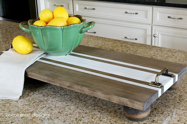 DIY Ticking Stripe Wooden Server Tray ~ Americana Decor Chalky Finish