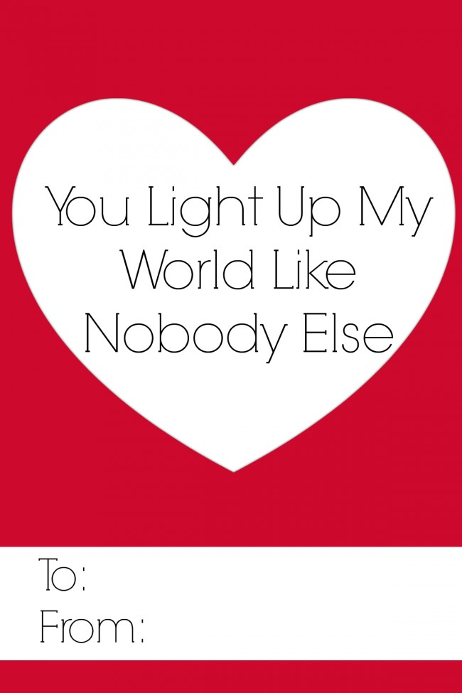 You Light Up My World Free Valentines Printable  #ValentinesDay  #FreePrintable  www.uncommondesignsonline.com