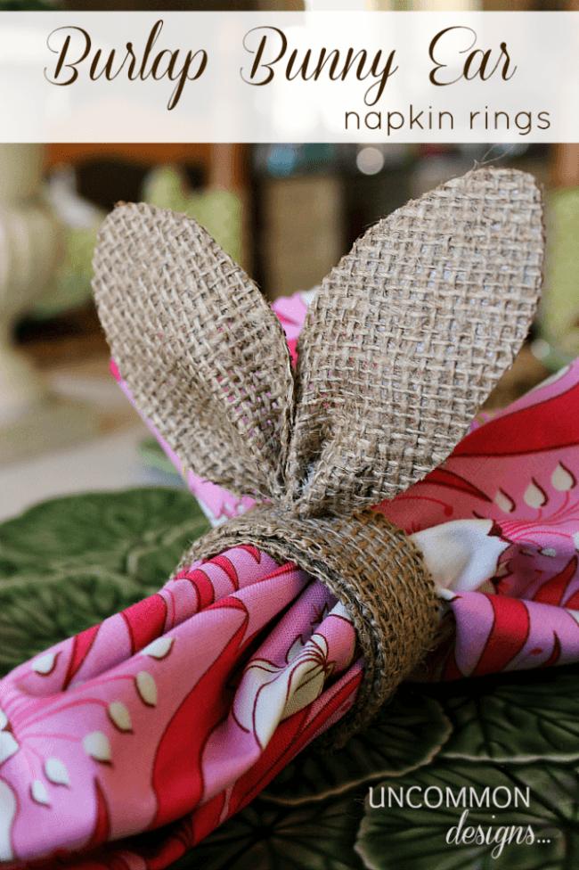 Burlap Bunny Ear Napkin Rings via www.uncommondesignsonline.com