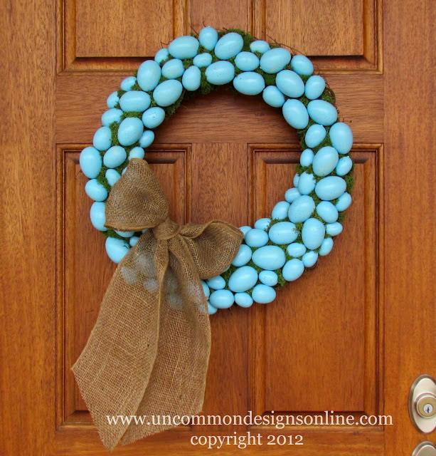 Robin's Egg Blue Easter Egg Wreath via www.uncommondesignsonline.com #Easter #Wreath