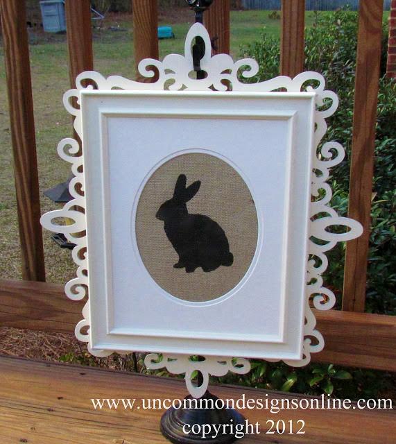 Burlap Easter Bunny Silhouette Art via www.uncommondesignsonline.com