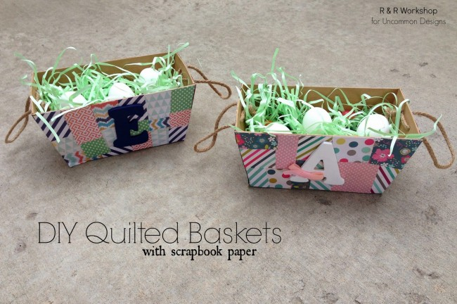 Make a Quilted Easter Basket with Scrapbook Paper!  So fun for the holidays!  via www.uncommondesignsonline.com  #Easter #EasterBasket