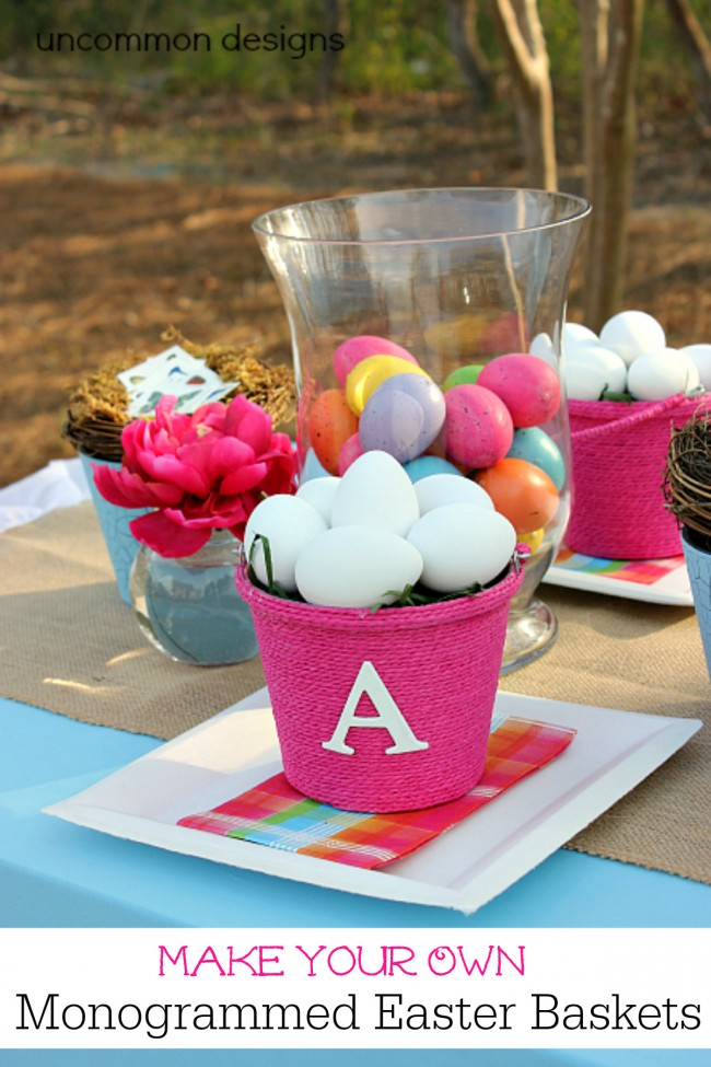 Make Your Own Monogrammed Easter Baskets with this Simple Tutorial www.uncommondesignsonline.com #Easter #EasterCrafts #Monogrammed