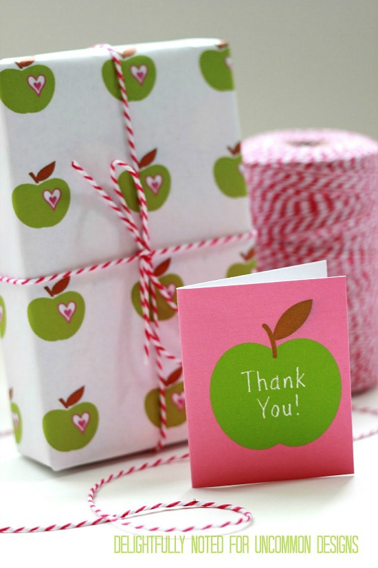 Teacher Appreciation Printable mini card and apple gift wrap via uncommon designs