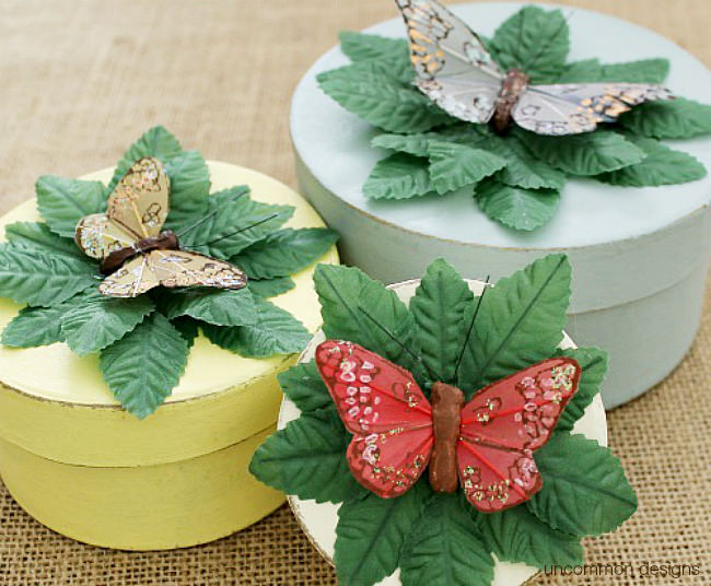 Gorgeous butterfly gift boxes made from paper mache boxes. A gift in itself via Uncommon Designs