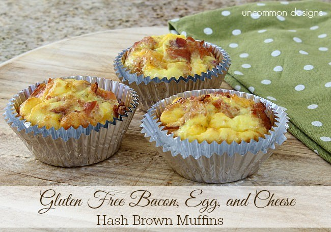 Gluten Free Bacon, Egg, and Cheese Hash Brown Mufins #OreIdaHashBrown #shop