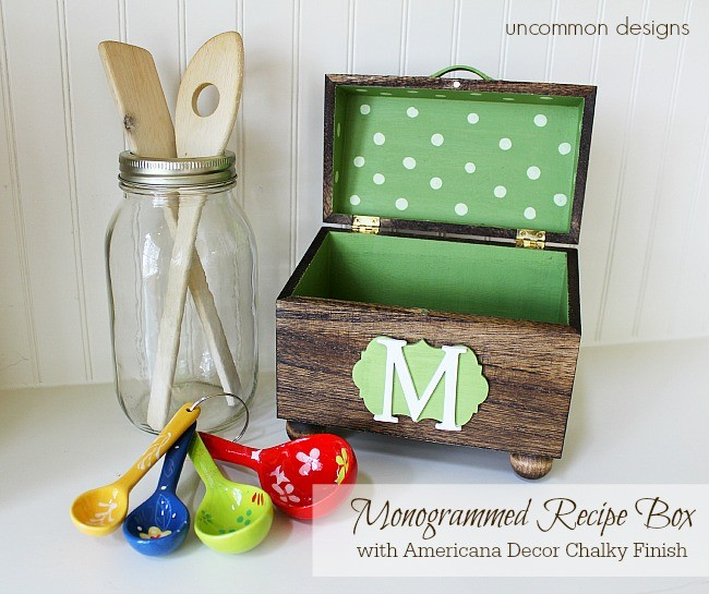 How to make a monogrammed wooden recipe box. #chalkyfinish #americanadecor #decoart