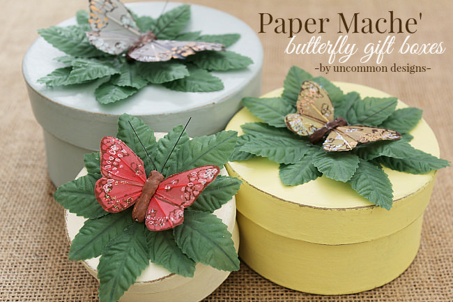 Beautiful with a touch of spring Paper Mache Gift Boxes via Uncommon Designs.