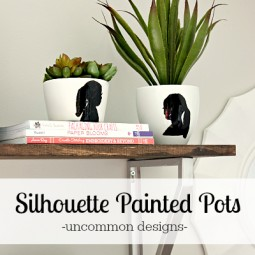 Personalize a planter or pot with a painted silhouette! An easy project that looks like a million bucks and makes a perfect gift! #MothersDay #DecoArt via www.uncommondesignsonline.com