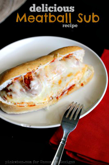 Delicious Meatball Sub Sandwich Recipe... a delicious and filling recipe anytime!  www.uncommondesignsonline.com