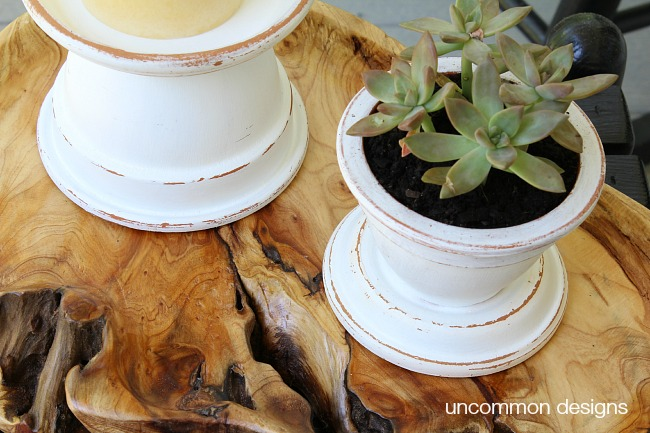 How to make outdoor terra cotta candle holders in 3 steps! #patiopaint #decoart