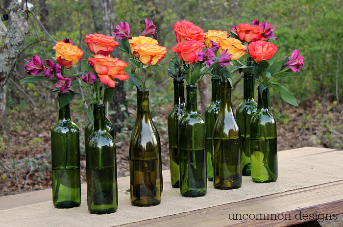Easy and elegant wine bottle centerpiece uncommon designs for Bouquet de fleurs wine