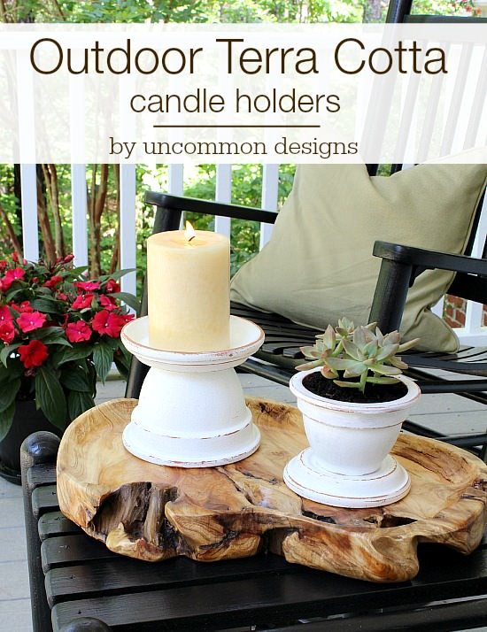 3 step outdoor terra cotta candle holders via Uncommon Designs.