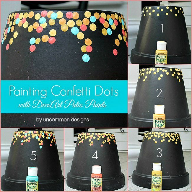 How to paint a confetti dot pot via Uncommon Designs. A perfect craft project to do with the kids for a fun outdoor diy.