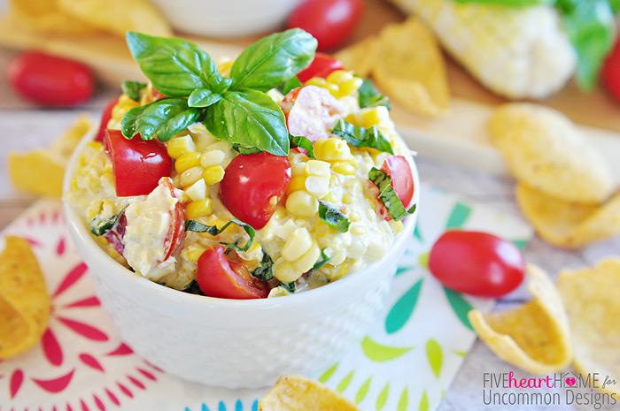 Fresh Summer Corn Dip... perfect for every summer get together!  www.uncommondesignsonline.com #dips #corn
