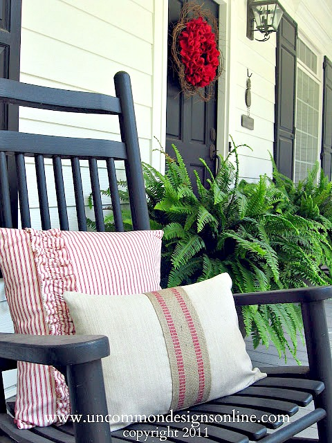 Fourth of July Front Porch Ideas. 5 Diy Projects for creating an amazing front porch. #pillows #fourthofjuly #summer #burlap