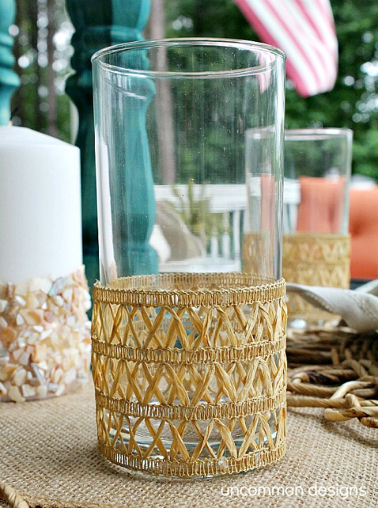Create these simple DIY Faux Rattan Beverage Coozies.