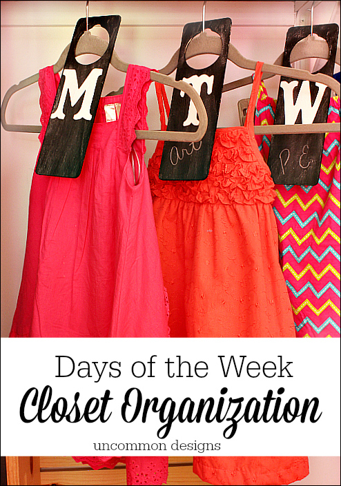 Days of the Week Closet Organizers.  Ease school morning stress with these functional and adorable chalkboard clothing dividers.  www.uncommondesignsonline.com