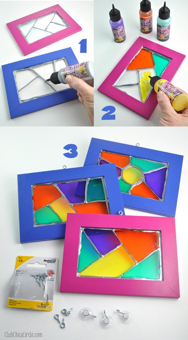 Homemade Stained Glass Frame Suncatchers