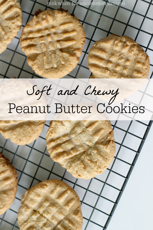 Soft and Chewy Peanut Butter Cookies Recipe... so moist and delicious!  via Uncommon Designs